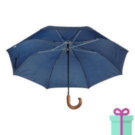 Automatische opvouwbare Paraplu hout blauw bedrukken