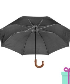Automatische opvouwbare Paraplu hout zwart bedrukken