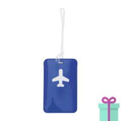 Bagagelabel vliegtuig blauw bedrukken