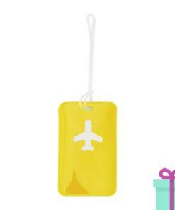 Bagagelabel vliegtuig geel bedrukken