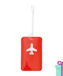Bagagelabel vliegtuig rood bedrukken