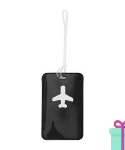 Bagagelabel vliegtuig zwart bedrukken