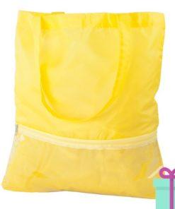 Boodschappentas voorvak geel bedrukken