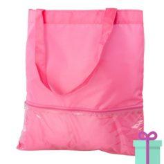 Boodschappentas voorvak roze bedrukken
