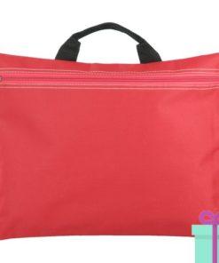 Documenten tas rits rood bedrukken
