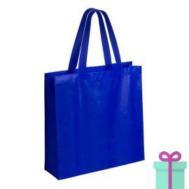 Gelamineerde non-woven shopper 110gram bedrukken blauw