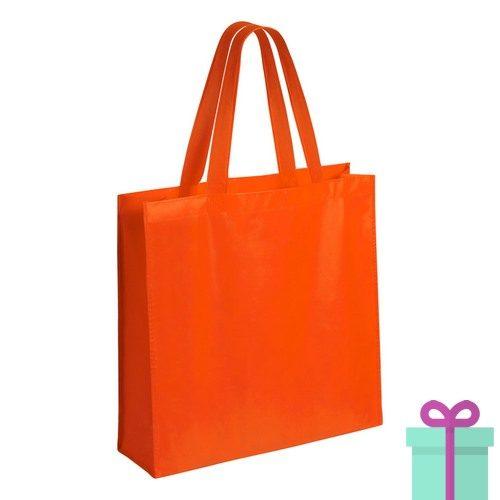 Gelamineerde non-woven shopper 110gram bedrukken oranje
