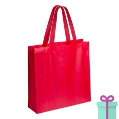 Gelamineerde non-woven shopper 110gram bedrukken rood