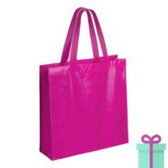 Gelamineerde non-woven shopper 110gram bedrukken roze