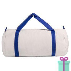 Katoenen duffelbag wit blauw bedrukken