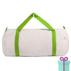 Katoenen duffelbag wit lime groen bedrukken