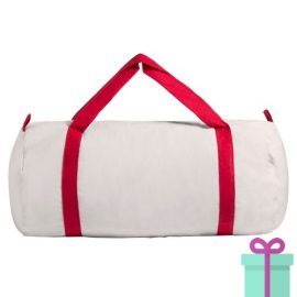 Katoenen duffelbag wit rood bedrukken