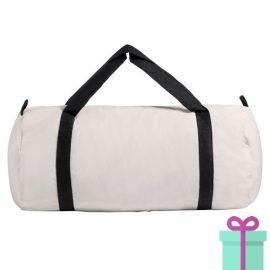 Katoenen duffelbag wit zwart bedrukken