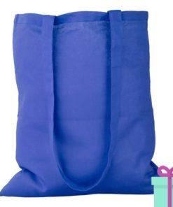 Katoenen tas lang hengsel blauw bedrukken