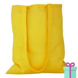 Katoenen tas lang hengsel geel bedrukken