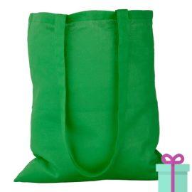 Katoenen tas lang hengsel groen bedrukken