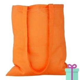 Katoenen tas lang hengsel oranje bedrukken