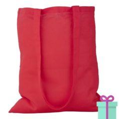 Katoenen tas lang hengsel rood bedrukken