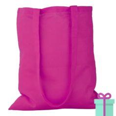 Katoenen tas lang hengsel roze bedrukken