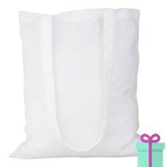 Katoenen tas lang hengsel wit bedrukken