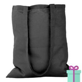 Katoenen tas lang hengsel zwart bedrukken