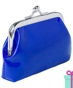 Kleine knip portemonnee blauw bedrukken