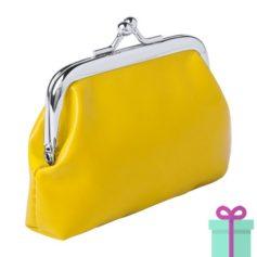 Kleine knip portemonnee geel bedrukken