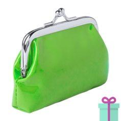 Kleine knip portemonnee groen bedrukken