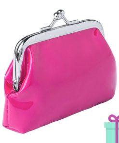 Kleine knip portemonnee roze bedrukken