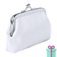 Kleine knip portemonnee wit bedrukken