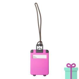 Kofferlabel papieren adresinzet roze bedrukken