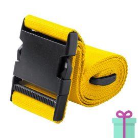 Kofferriem geel bedrukken