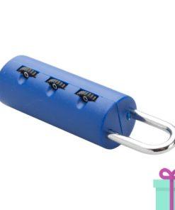 Kofferslotje plastic 3-cijferslot blauw bedrukken