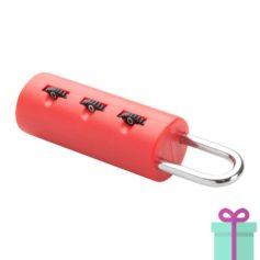 Kofferslotje plastic 3-cijferslot rood bedrukken