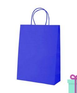 Kraft papieren tas blauw 100gr bedrukken