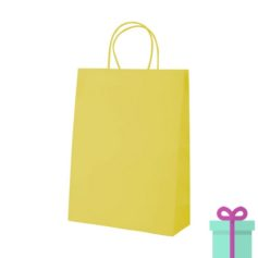 Kraft papieren tas geel 100gr bedrukken