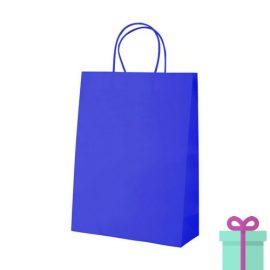 Kraft papieren tas klein blauw bedrukken