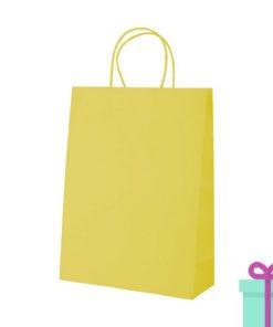 Kraft papieren tas klein geel bedrukken