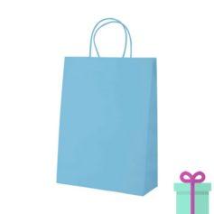 Kraft papieren tas klein lichtblauw bedrukken