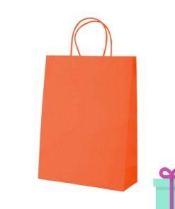 Kraft papieren tas klein oranje bedrukken