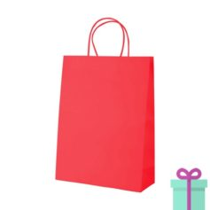 Kraft papieren tas klein rood bedrukken