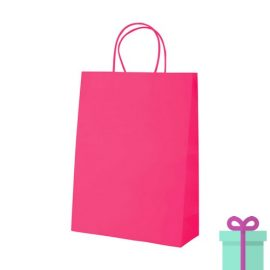 Kraft papieren tas klein roze bedrukken