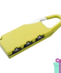 Metalen bagageslot geel bedrukken