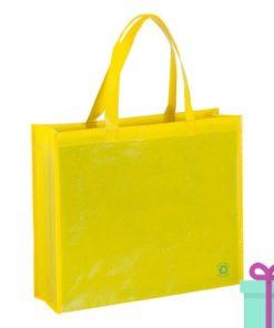 Milieuvriendelijke boodschappentas geel bedrukken