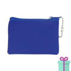 Mini microfiber portemonneetje blauw bedrukken