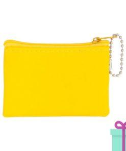 Mini microfiber portemonneetje geel bedrukken