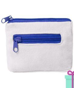 Mini portemonee wit blauw bedrukken