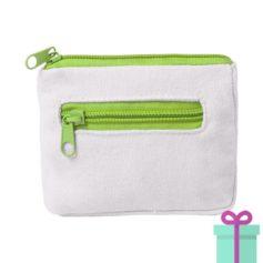 Mini portemonee wit lime groen bedrukken