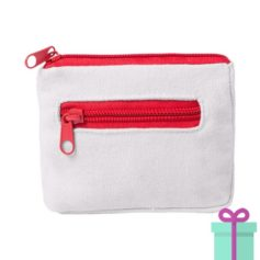Mini portemonee wit rood bedrukken