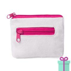 Mini portemonee wit roze bedrukken
